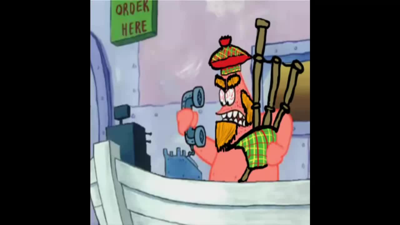 Scottish Crusty Crab. Oi, izzis deh Krosty Kreabhe? Neh, m'nem's Padraig. Eem'nen, 'iss eh Krosty Kreabbhn? Neh, iss Padraig Ey Laddie, ibn'ihs be ther Krusty K