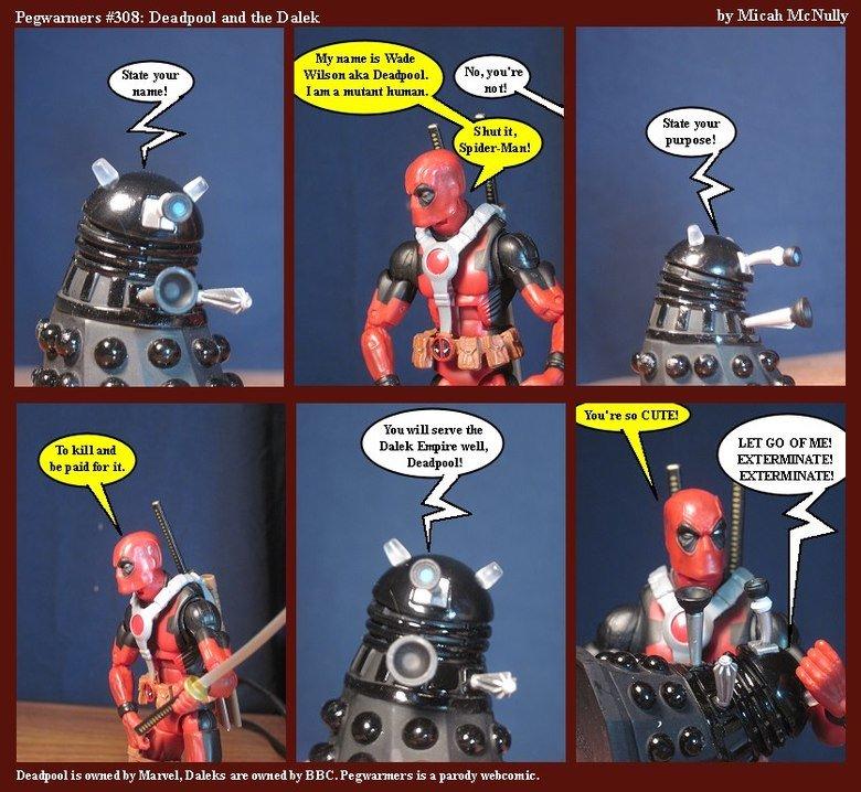 """Dead Pool V.S Dalek. Dalek's are kind of cute... Legwarmers #308: Deadpool and the Dalek by Micah Mcnally Littel. an aka Deaths ml State ya """" State ya """" pulp us dr who Dalek dead pool"""