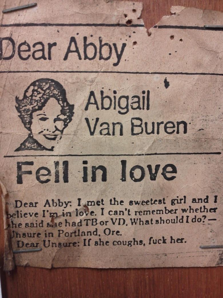 Dear Abby. Source: Imgur. itu aft.. tuberculosis or venereal diseases? Dear Abby Source: Imgur itu aft tuberculosis or venereal diseases?