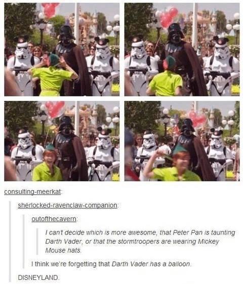 Disney Land. .. DIDNEY WORL? Disney darth vader Peter pan tumblr