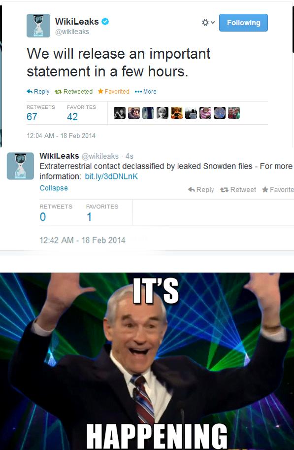 HABEEB IT!. . We will release an important statement in a few hours. 67 42 I H E H Millet I I 12 cu AM - If) Feb 2014 f Wikileaks - leaks F.) Extraterrestrial c HABEEB IT! We will release an important statement in a few hours 67 42 I H E Millet 12 cu AM - If) Feb 2014 f Wikileaks leaks F ) Extraterrestrial c