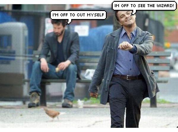 Happy Leo, Sad Homeless Guy. Leo is happy, Homeless guy is not.. Ell Ntiy TD -355 THE (. Not surprisingly, that kinda looks like Keanau Reeves. leonardo