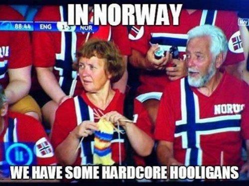 Hardcore Hooligans. Tags used correctly -->.. Wait. We were winning against England? norwegian Football Soccer hooligans spectator