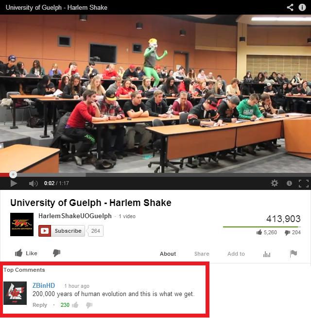 Harlem Shake. Link: www.youtube.com/watch?v=Jr6K3I8XLDE. n:: f ikue. lch - Harlem Shame K I] University of Guelph - Harlem Shaka E Subscribe , i. giglio F 31: 1 tags shakin my jeans