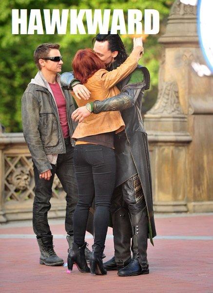hawkward. avengers and junk, loki being boss. avengers