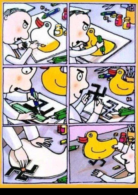 He started young. Hitler made a duck. ta-da.. Well, Hitler was an artist. Hitler comic Nazi Duck