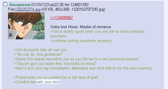 Hisao in a nutshell. Kaiba cross eyes. Hisao master of romance