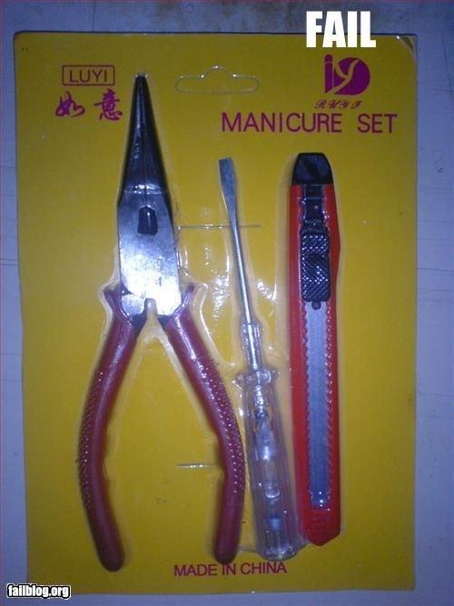 hmmm. asian fail!!. will. torture manicure set. fail