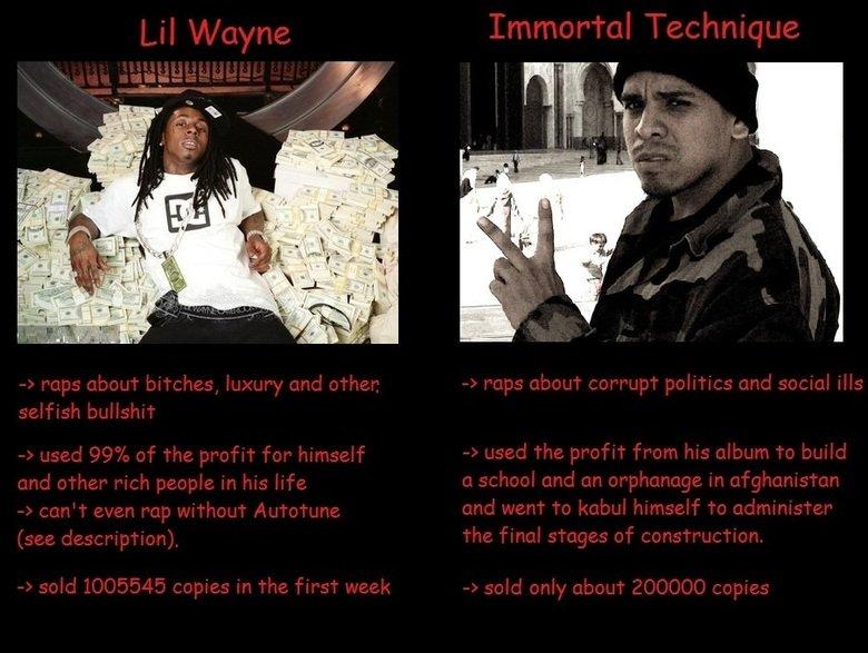 Lil wayne vs Immortal Technique. www.youtube.com/watch?v=xsyEjQ8a8XI.. Immortal Technique.... Rock version lil wayne