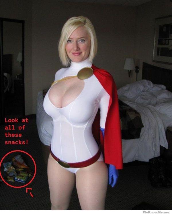 LOOK AT THOSE SNACKS!!!. .. God I love Power Girl cosplay. Cheetos Nigga