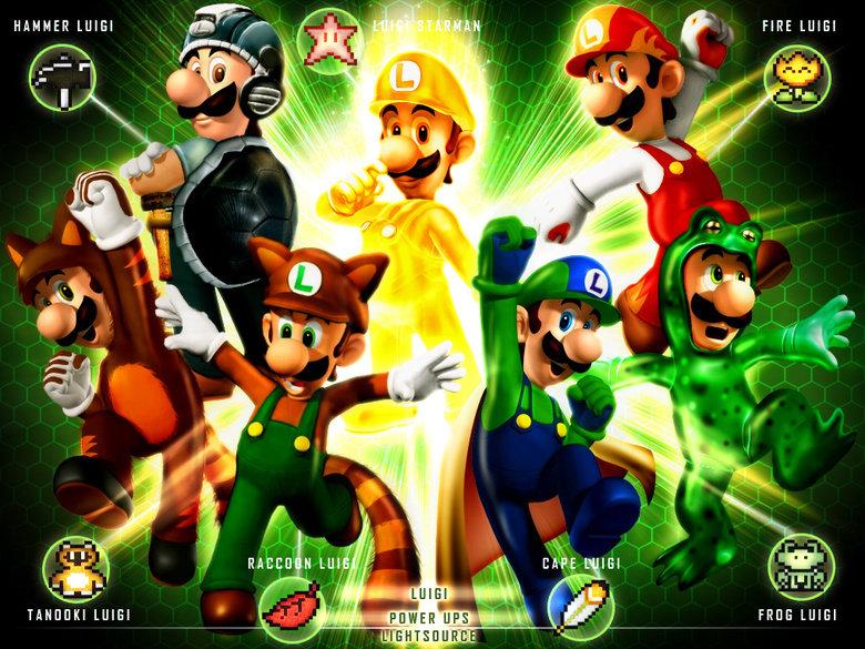 Luigi's Classic Power ups. Enjoy!. . HAMMER lolkill '-. '. iall ' , FIRE l. tsuiet FAHT. Frog Luigi = Master Mario Bro race luigi powers