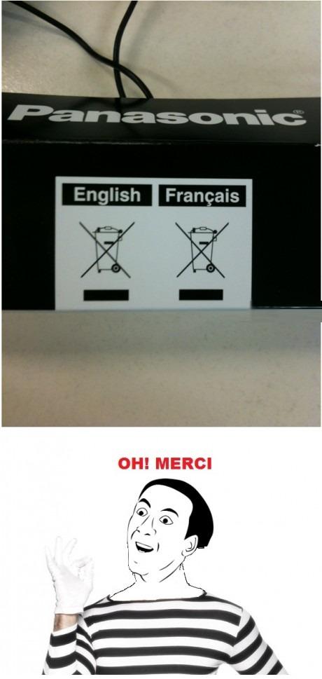 Panasonic. Good thing they translated it.. OH! MERCI. But what will the Spaniards do?! panasonic merci relevant stuff
