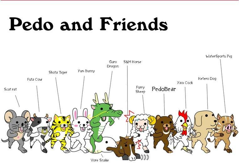 PedoBear And Friends. PedoBear and all of his wonderful friends. You gotta love them all!. Pale and Friends. I like Bunny. ^.^ pedobear Friends ummm yay Cheese Pie