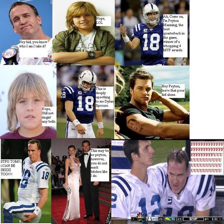 Peyton Vs. Brady. Peyton Manning and Tom Brady exchange words.. rol 7 fuking Shiet peyton brady Angry suite Life