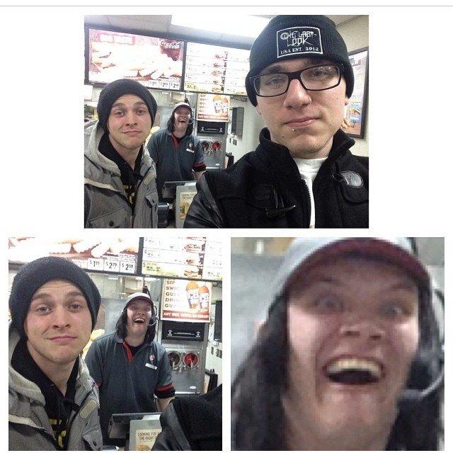 Photo Bomb level : Cashier. . friend getting p