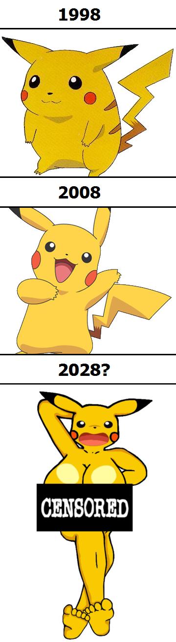 Pikachu keeps getting slimmer each year.. Oh my. 1998 PIKACHU Pokemon diet