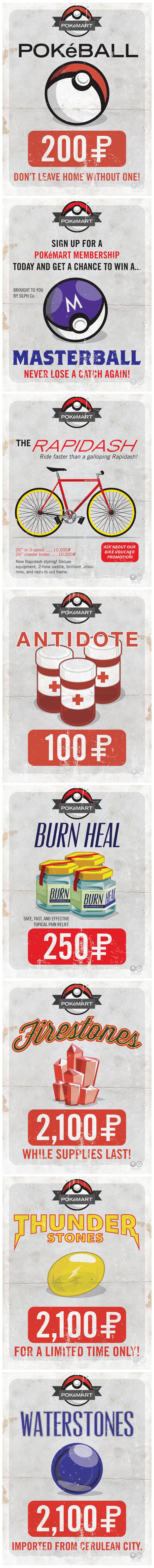 Poké Mart Posters. Source: www.behance.net/gallery/PokeMart/3685883.. for future use Pokemon posters