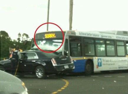 Polite Bus. .. inb4 Canadian bus lol Crash crashes funny polite Bus sorry front page haha