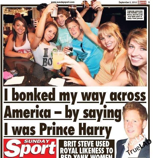 """Prince Harry lookalike. . I banked [iii') EU') across I was Prince Harry I , Ell'! VINE. >""""I bonked my way across America"""" Prince Harry lookalike I banked [iii') EU') across was Ell'! VINE >""""I bonked my way America"""""""