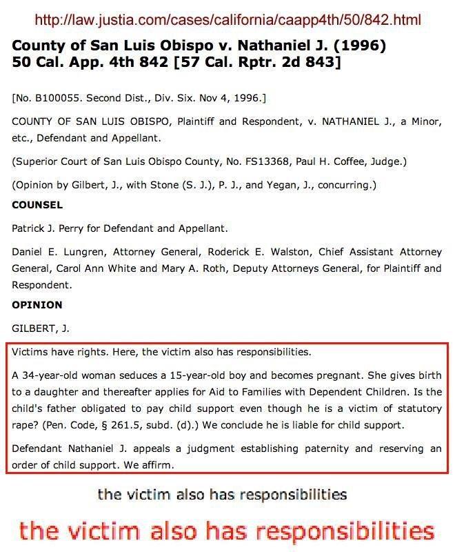Thanks, feminism!. . twenty Of San Luis Obispo v. Nathaniel J. (1996) so Cal. App. tth 342 [STE Cal, Rptn. 843] me. . Second Dist., Div. Six. Nov 4, 19960 COUNT Thanks feminism! twenty Of San Luis Obispo v Nathaniel J (1996) so Cal App tth 342 [STE Rptn 843] me Second Dist Div Six Nov 4 19960 COUNT