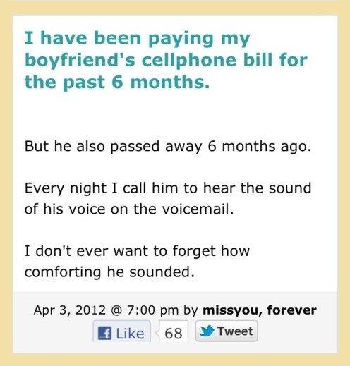 That feel. so sad so sad.. >Record his voice >Cancel bill >Save money you are awsome