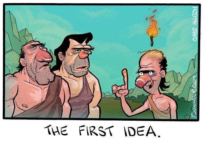 The First Idea.. Uggh-mugga-idea...ugh. for more ideas... uhhnnn i feel it toonhole toon cartoon comic webcomic gag the first idea Idea torch Caveman