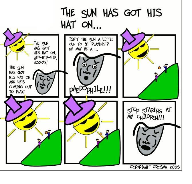 The sun has got his hat on :D. Damn sun. The sun has got his hat on :D Damn