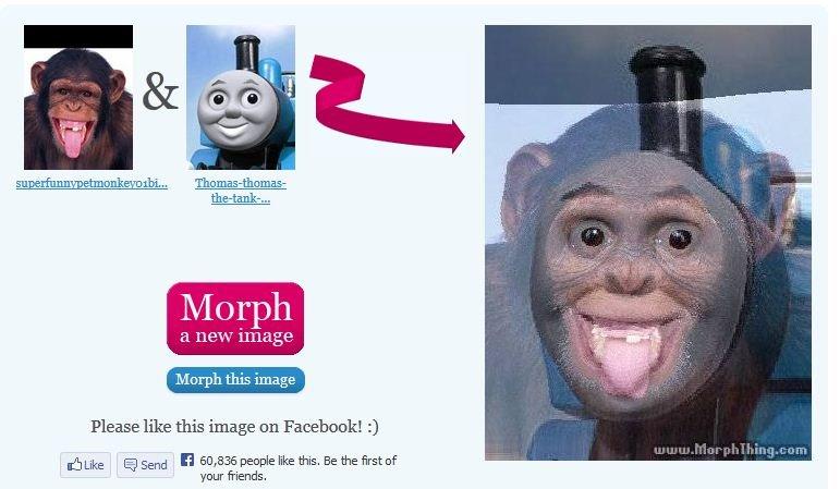 Thomas the Tank Engine Monkey morph. . thomas the tank  monkey morph