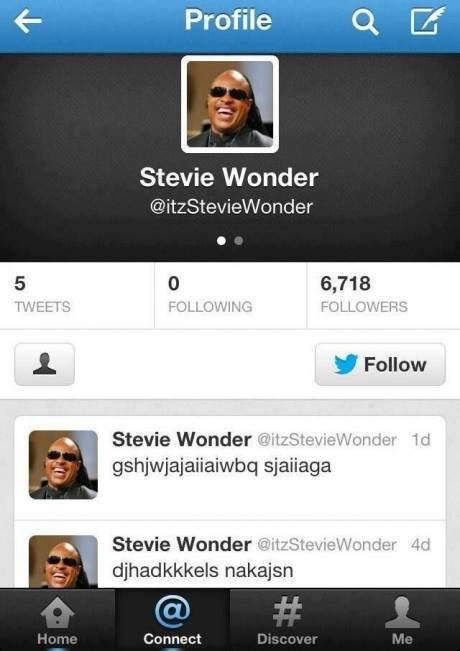 "title. Harsh but not the less funny as hell. 6 Profile ck Stevie Wonder 6, 713 PM , is Ill M ll I Stevie ! Stevie Wonder I um; -r"" -Hi i' kegels !. i dont get it? wonder child"