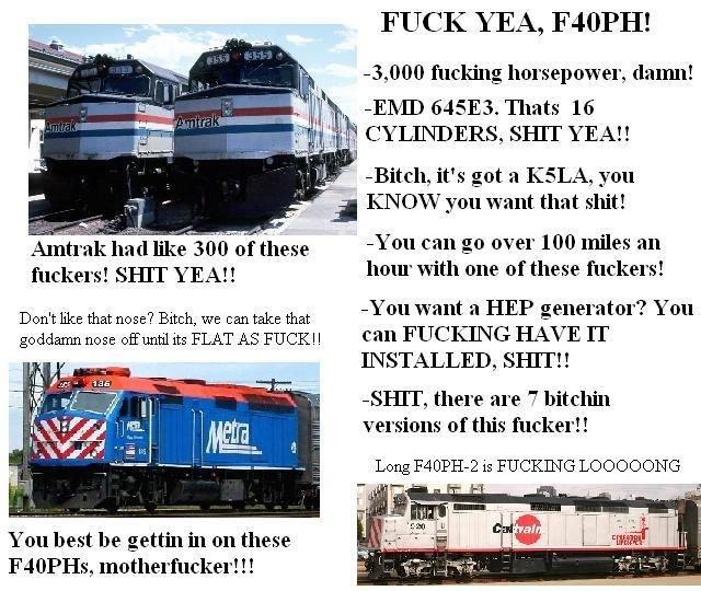 TRAAAAAAINsss. . FUCK YEA, ! 3, 000 fucking horsepower, damn! I -EMD , Thats 16 Ill 'r. ittl., CYLINDERS, SHIT YEAH Bitch, it' s got a RASLA, you j I-' ZND' W y trains f40ph Train complation