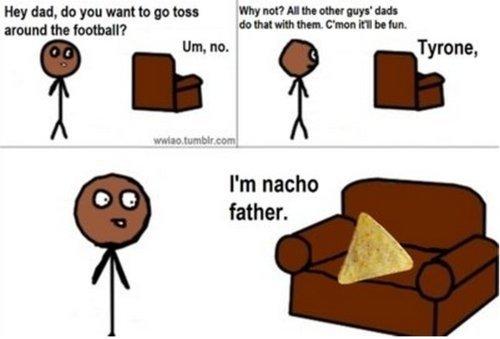 "Tyrone. tyrone im nacho father. duds hatt, WE mbet to'"", I' m nacho father. tyrone nacho father lol"