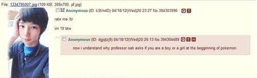 4chan. .. I would still bang it. Androgyny Pokemon professor oak boy or girl Rate Me