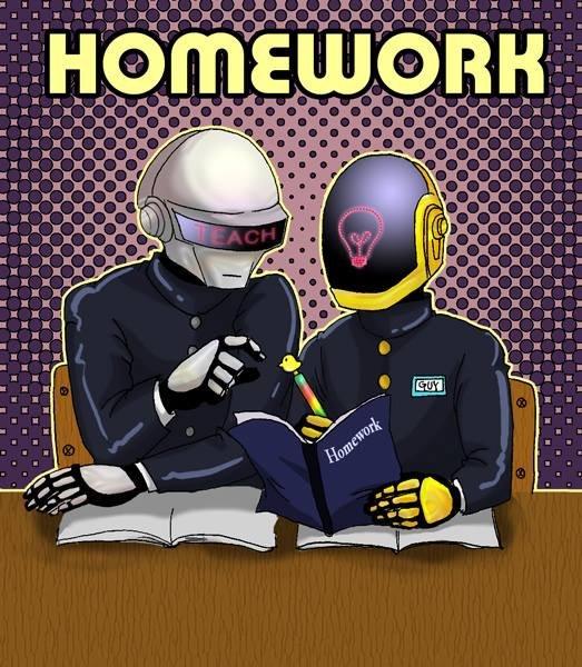 daft. homework.. we're up all night for more studies punk