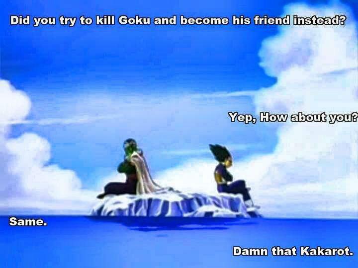 Damn Him. . Did gnu try to kill Goku and became his ) ; Damn that Kakarot. dbz