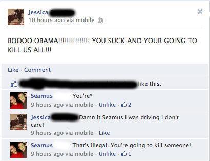"Damn It Seamus!. facebook heh. 10 hours ago via mobile it Jessica"" KILL US ALL!!! Like - Comment Seamus Youre' 9 hours ago aria mobile - Unlike r #112 it Seamus facebook politics"