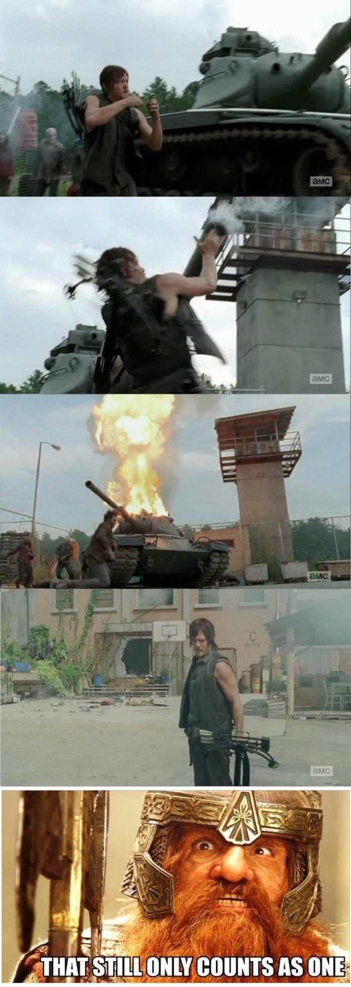 Daryl, the one man army. .. bitch please Daryl the one man army bitch please