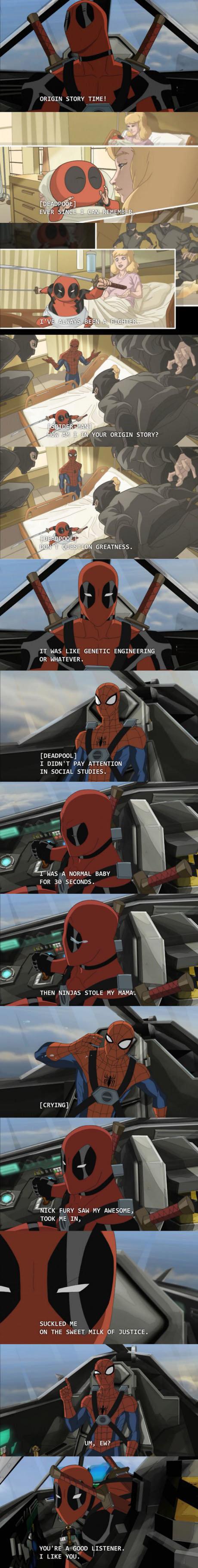 Deadpool Origin Story Time!. Ninjas took mah baby. ORIGIN STORY TIME! IT HAS LIKE GENETIC ENGINEERING OR WWHATEVER, DEADPOLL] I DIDN' T PAY ATTENTION . IN ADERA Deadpool Spiderman origin story Marvel