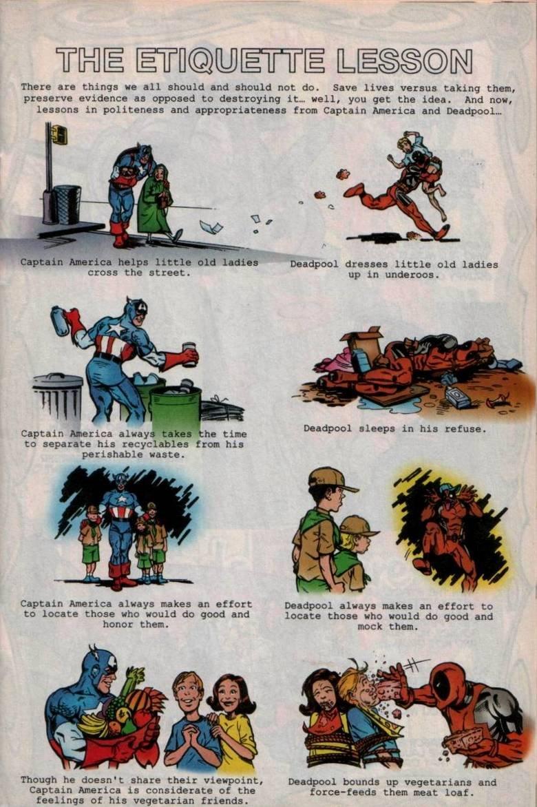deadpool and captain america.. HAHAHAHAHA Deadpool, you so crazy. Deadpool Captain America