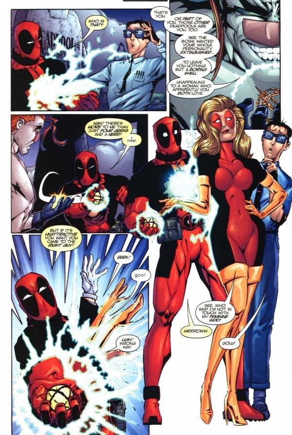 Deadpool's Feminine Side. Not as 'well endowed' as Lady Deadpool, but she's still a looker... Deadpool's Feminine Side Not as 'well endowed' Lady Deadpool but she's still a looker
