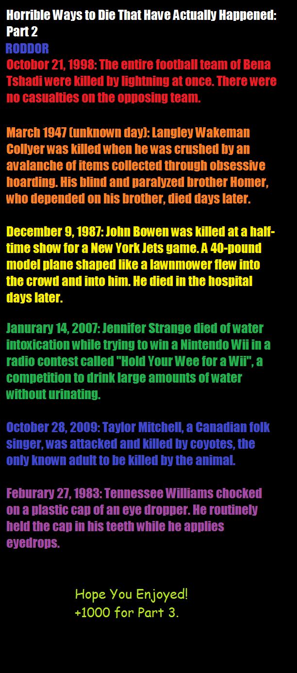 "Death 2: The Squeakquel. More strange deaths. en.wikipedia.org/wiki/List_of_unusual.... Iditor"" ttritt ways tta Ilia Thtat ""Elle : Part 2 March IMO day]: l, wak Death 2: The Squeakquel More strange deaths en wikipedia org/wiki/List_of_unusual Iditor"" ttritt ways tta Ilia Thtat ""Elle : Part 2 March IMO day]: l wak"