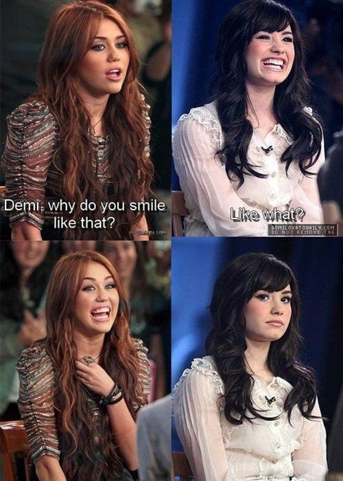 Demi Vs Miley. . y do you smile Ge that'? Dem.. repost Demi Vs Miley y do you smile Ge that'? Dem repost