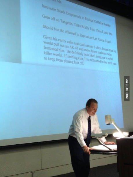 -Description-. University professor reading his own teaching reviews to the class.. -Description- University professor reading his own teaching reviews to the class