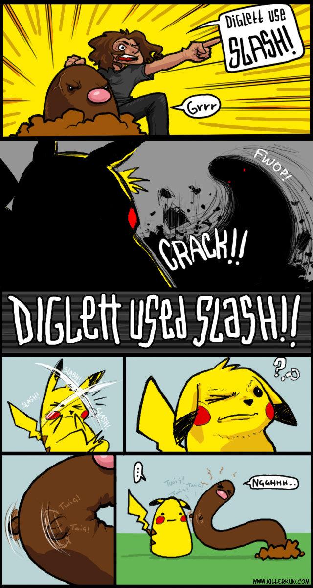Digglet, I choose you!. Digglet use slash!. sim.. Digglet's secret car crashes digglet