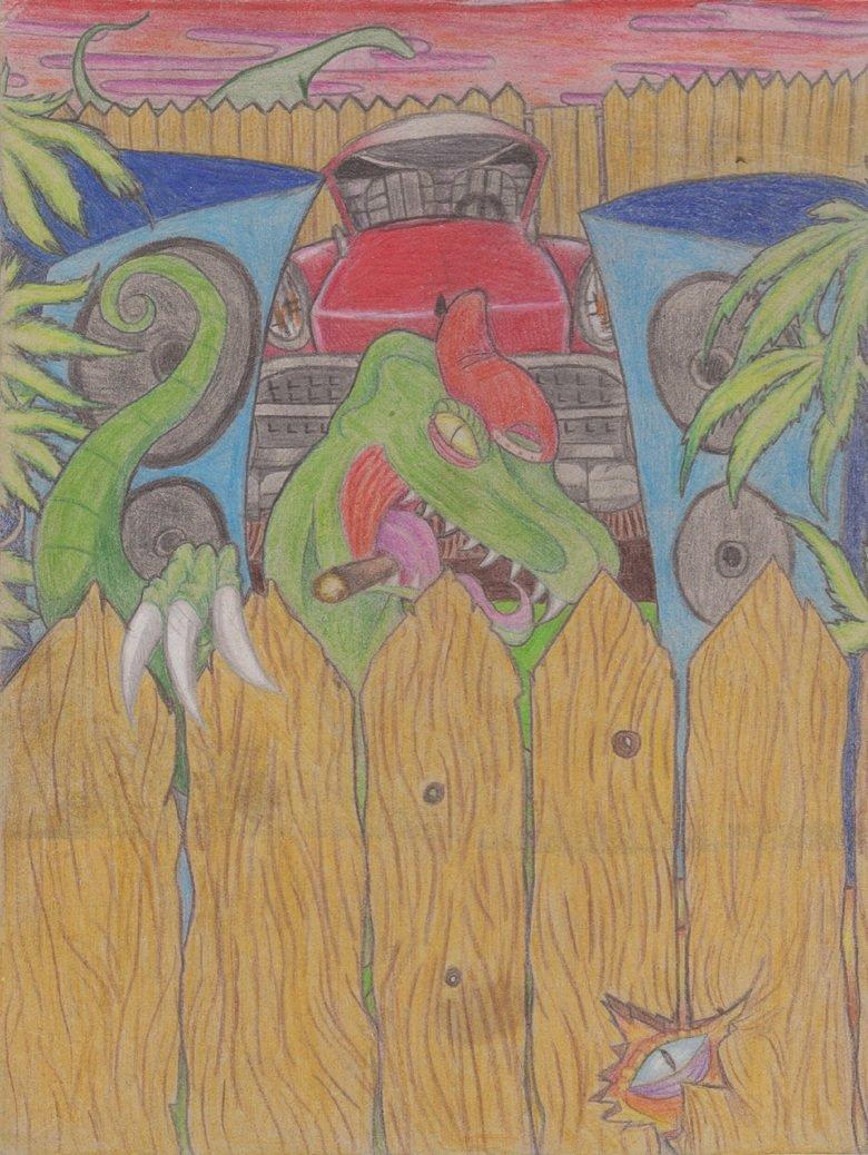 Dino hood. A kinda old drawing i made on cardboard.. drawing dinosaur