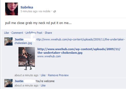 Don't mind if I do.... choke slam. Sabrina 5 minutes ago we mobile . sit pull me close grab my neck put it on me... Like . Comment . Post . Share Mtg! uploads!  under take her