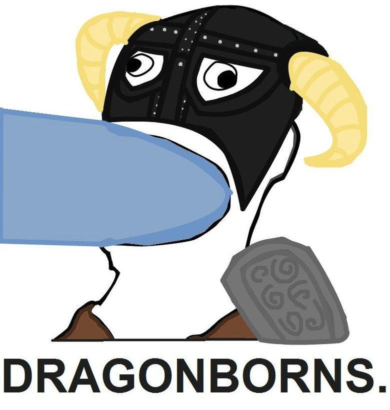 DRAGONBORNS. revised. Decided to just make it look less Paint-y... Still looks like fat frost dragon cock. the Elder Scrolls five Gentle Men gentlemen skyrim arrow to Knee fus ro dah