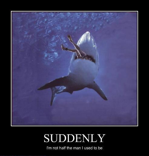 Half the Man. D: Shark Attack!. 4 LY I' m FELI half the» man I use-: 1 TC') be Shark attack