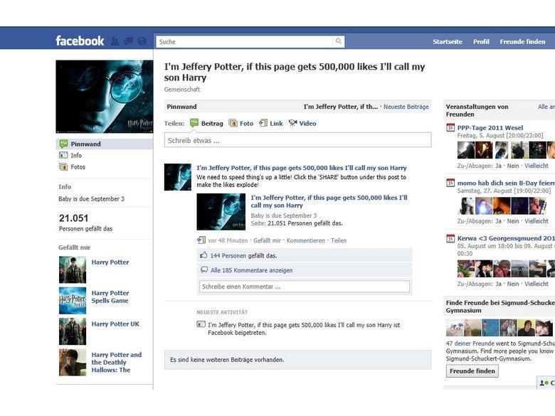 "harry potter. everybody click like www.facebook.com/pages/Im-Jeffery-Pot.... Profil Freunde h"","" fda/ I' m Jeffery Potter, if this page gets ttm, 000 likes I' l Harry Potter"