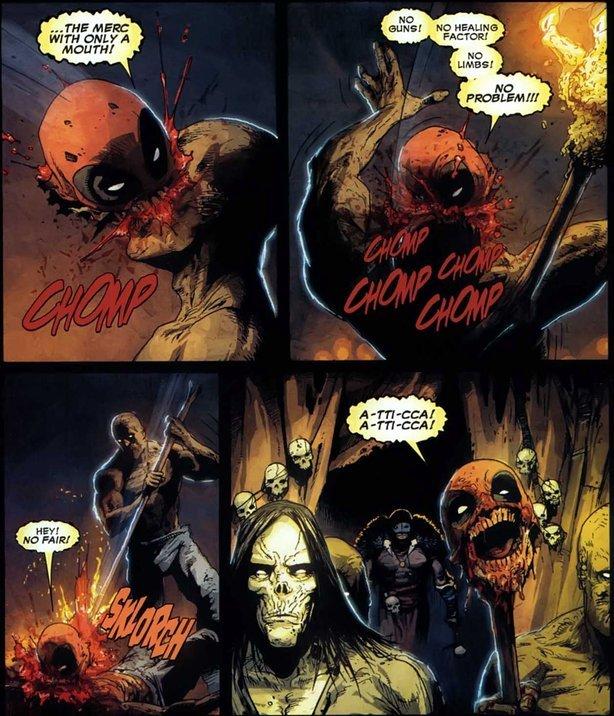 "HEADPOOL!. A-TTI-CCA A-TTI-CCA W T F. serise"" Y: I. Deadpool>Monty Python's Black Knight Headpool like deadpool but a head Roma Victa"