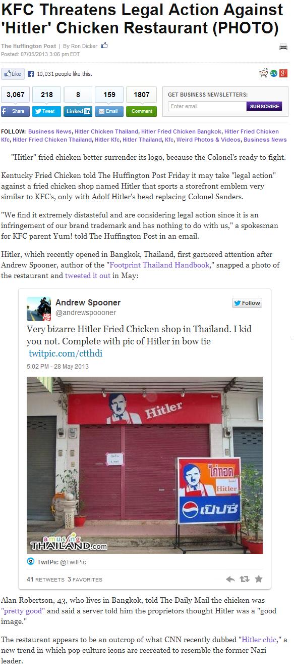 HEIL!. Huffing-them post. KFC Threatens Legal Action Against Hitler' Chicken Restaurant (PHOTO) The Huffington Post By Ron Dicker g Posted: 3 T. 06 pm EDT shrik huehuehue i like Dino vag